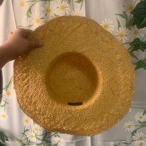 Vintage Accessories - Vintage pink rose vine madras plaid woven sun hat